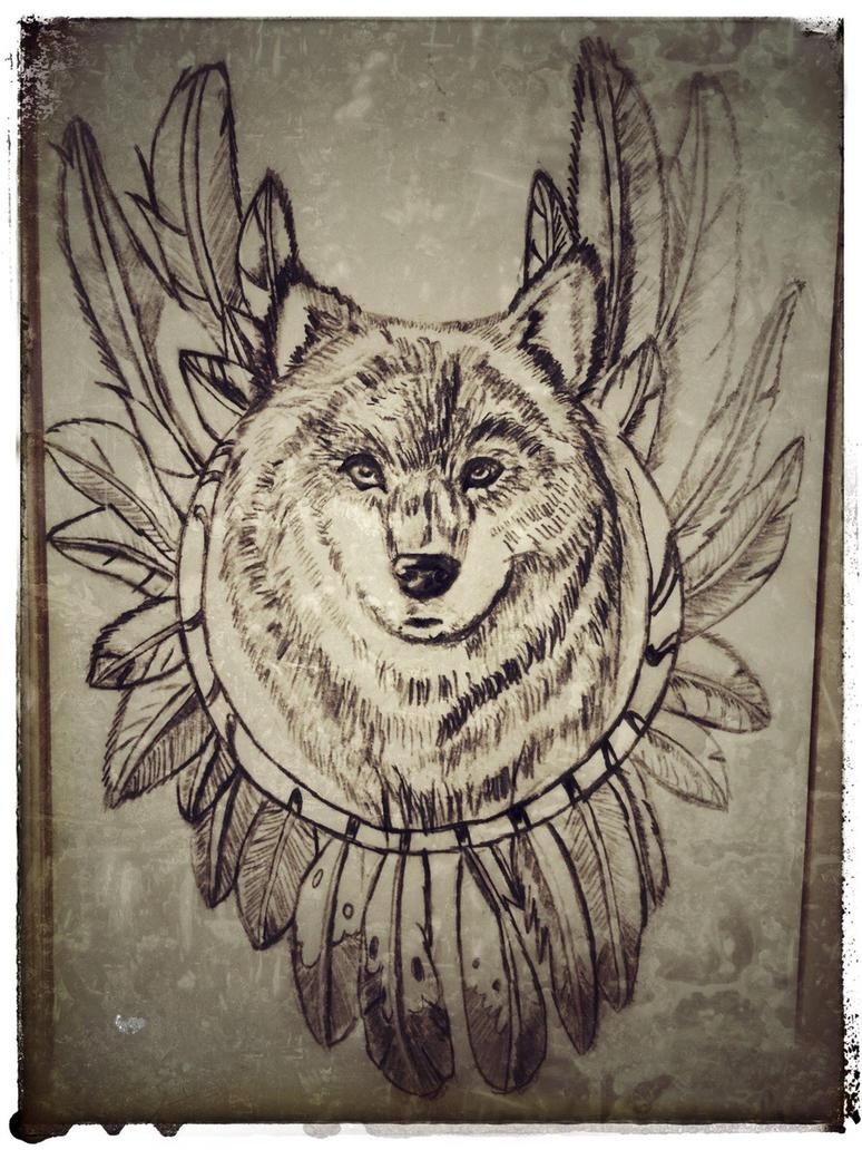 Native Wolf Sketch by DarkWolf80s