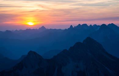 Allgaeu Alps silhouette