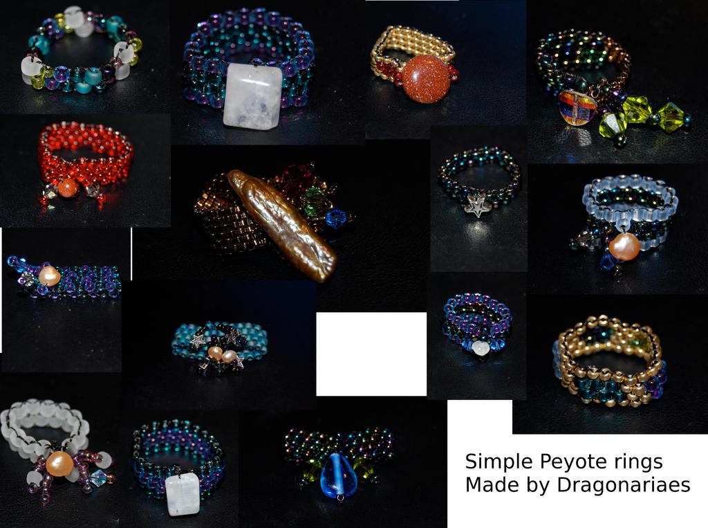 Peyote beaded rings by dragonariaes