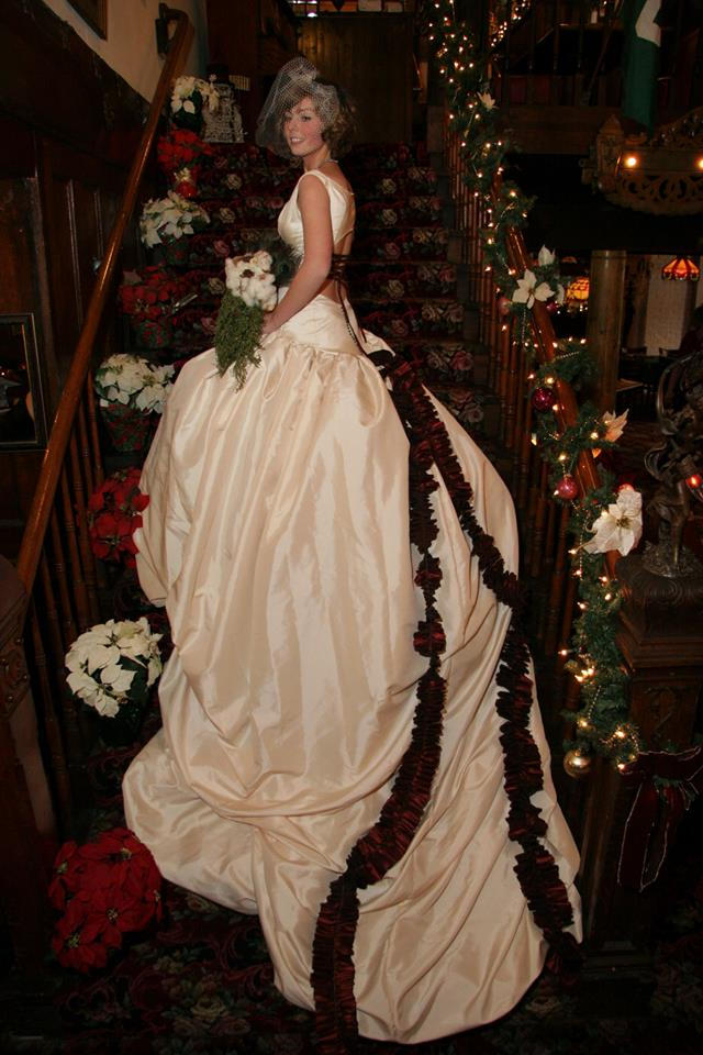 Extended train ballgown