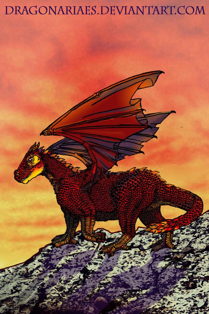 Zellon the fire dragon (artbook teaser) by dragonariaes