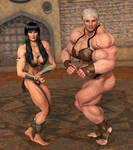 Hulk Gabs and Xena Posing