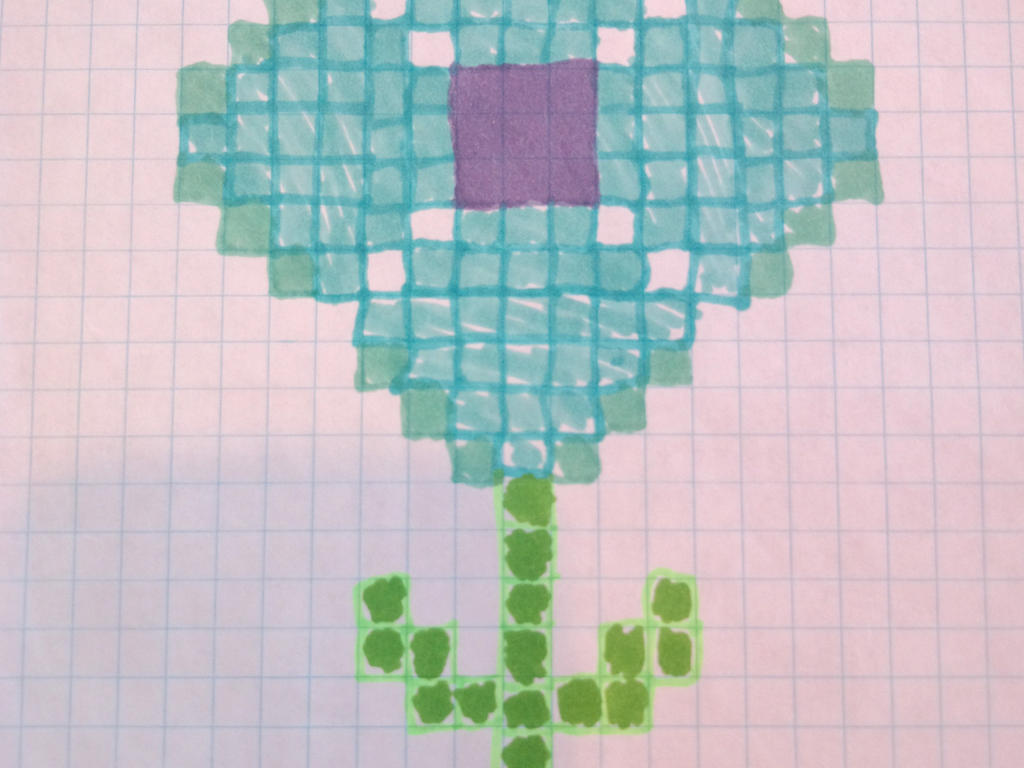 Sharpie Flower On Graph Paper Blue By Brandi On Deviantart
