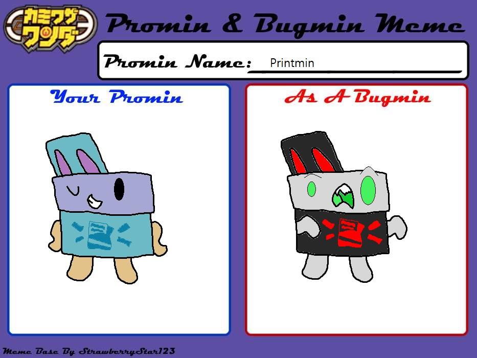 Kamiwaza Wanda OC Printmin Promin and Bugmin Compa by JinNeko12