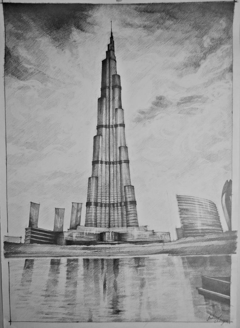 Burj khalifa by andreeablue on deviantart for Burj khalifa sketch