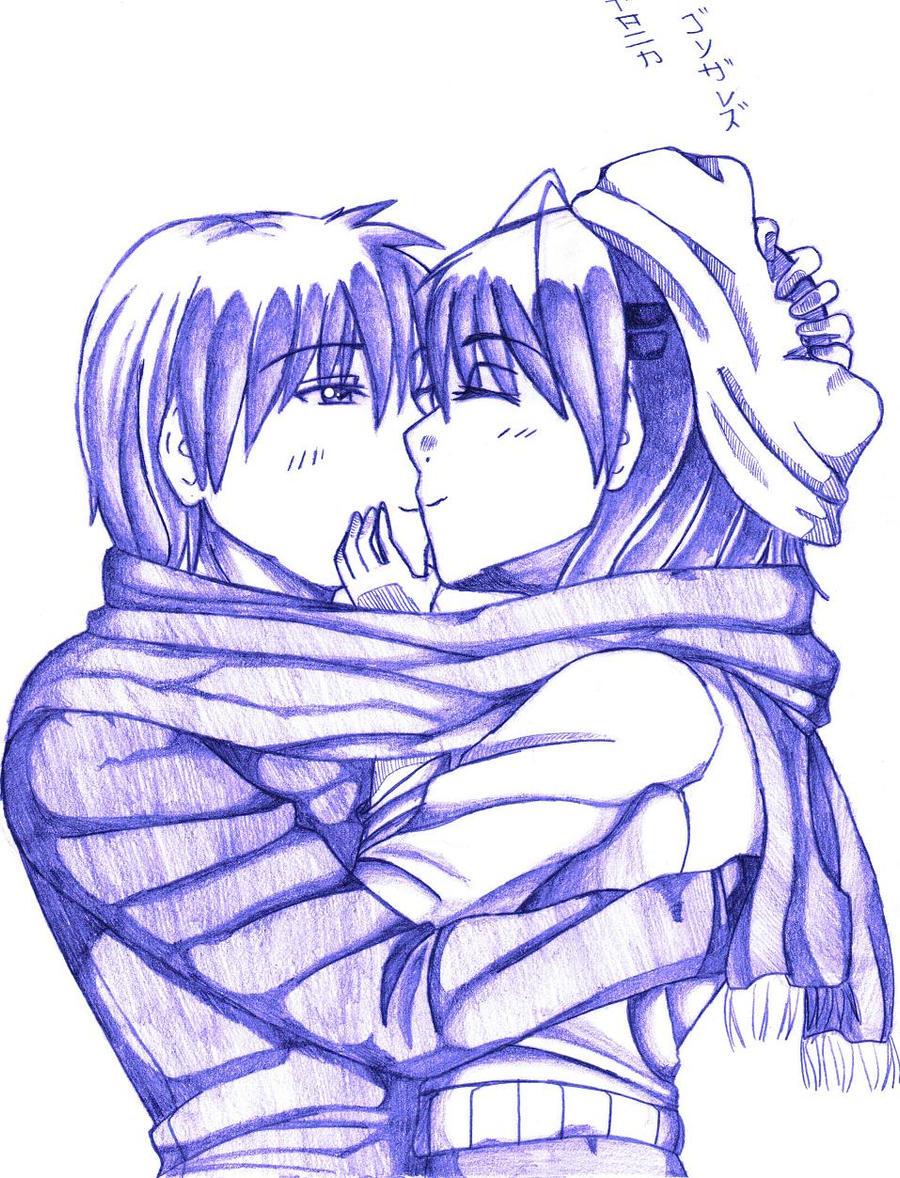 Clannad Tomoya And Nagisa Winter Kiss By Koyukimori On Deviantart