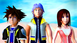 Sora, Riku, and Kairi (closeup) by TheRPGPlayer