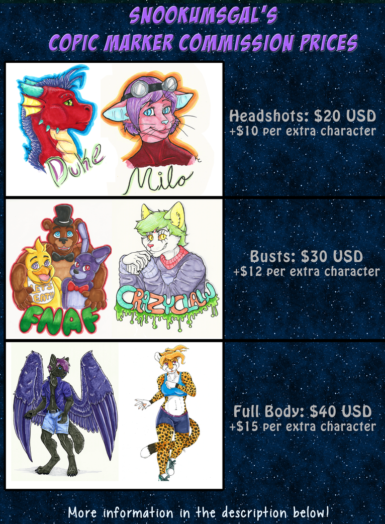 Copic Marker Commission Prices by SnookumsGal