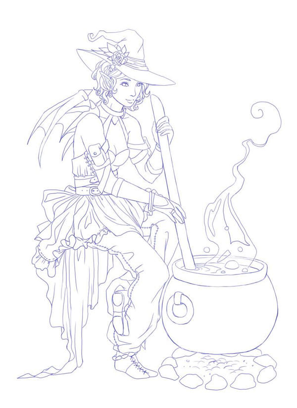 Witchy Lineart by sterces7
