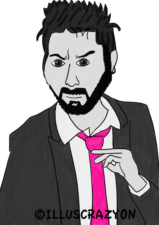 Caricatura Dani Martinez B/N Desaturacion