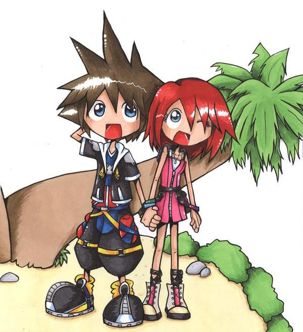 Sora and Kairi by spuds-n-stuff
