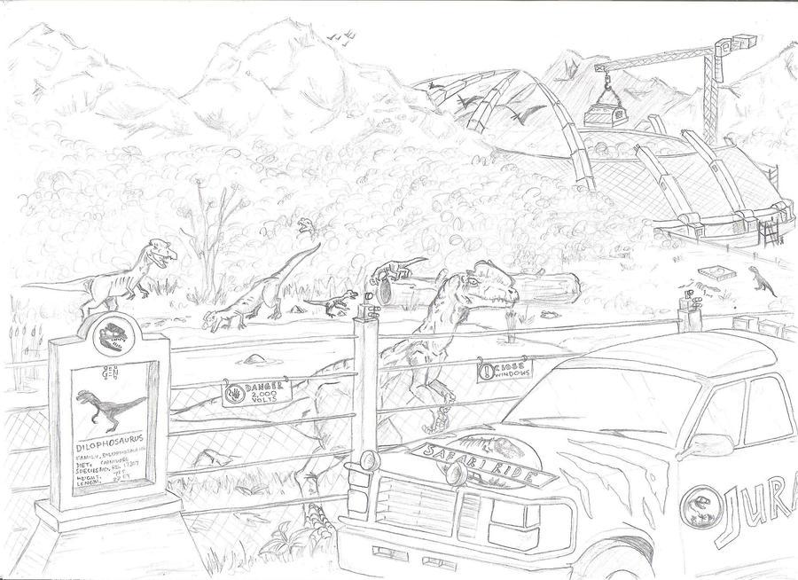 Dilophosaurus scene by ch4dg on deviantart for Dilophosaurus coloring page