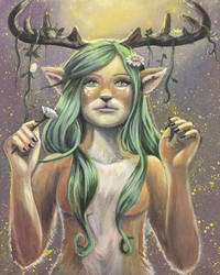Fawn Girl Painting by WhimsyWulf