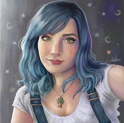 Blue Hair Digital Self Portrait