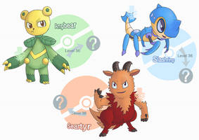 Some Region Fakemon #002 #005 #008 - Starters by grimarionette