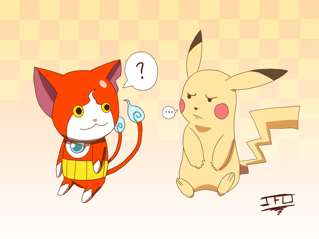 Crossover Mascot - Jibanyan and Pikachu by JackFrostOverland