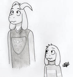 Adult and child Asriel