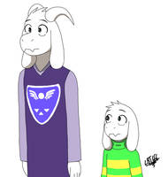 Adult and child Asriel (color)