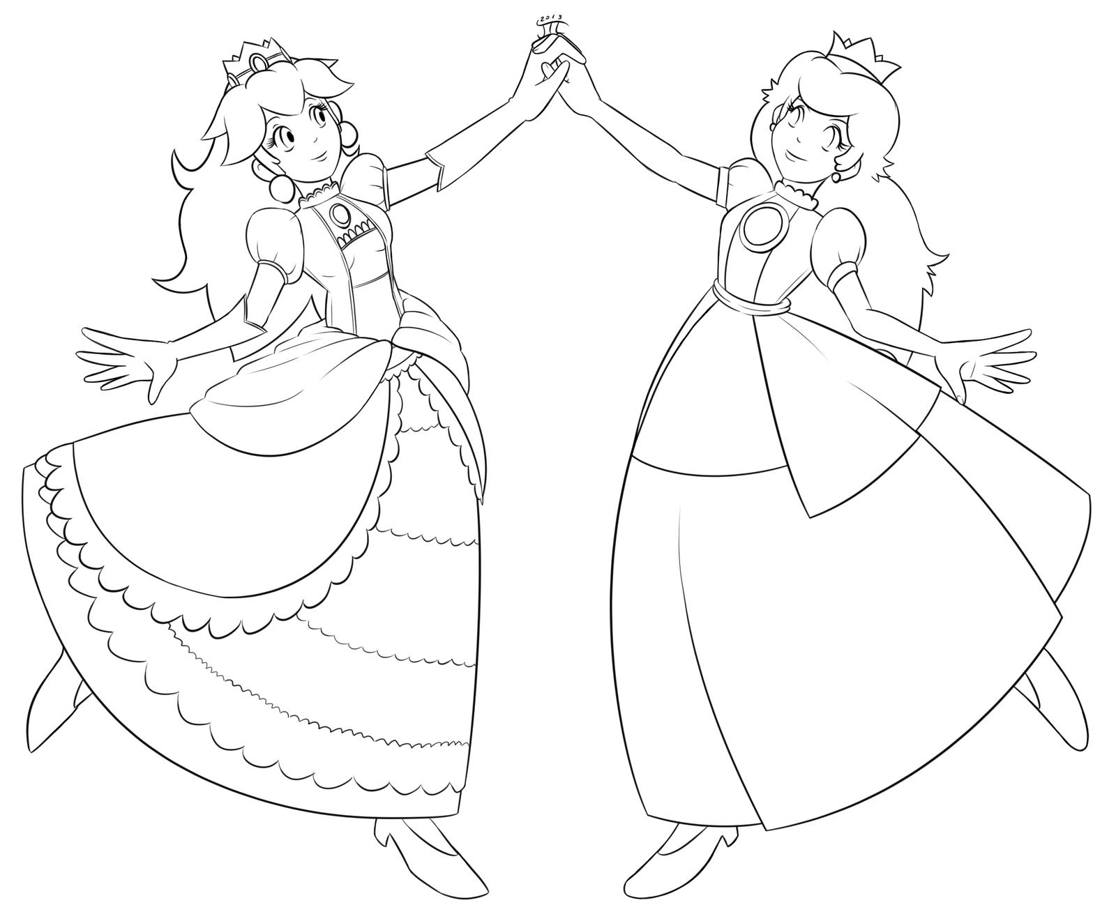 Mario princess peach toadstool ver 1 lineart by for Super mario princess peach coloring pages