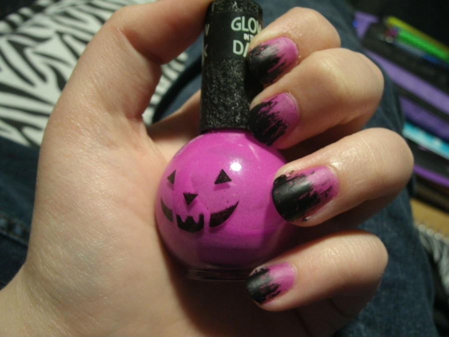 Halloween Purple Matte Nails by Spongy858 on deviantART