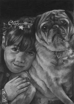 My Daughter and Barky the Pug in Graphite