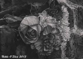 Stone Flowers Pencil Sketch by DragonPress