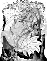 Mermaid and Dolphin in Ink by DragonPress