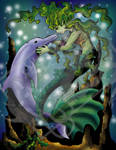 Mermaid and Dolphin Colored