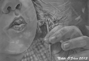 Blowing Wishes Graphite Portrait by DragonPress