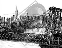 Williamsburg Bridge and Manhatten Skyline