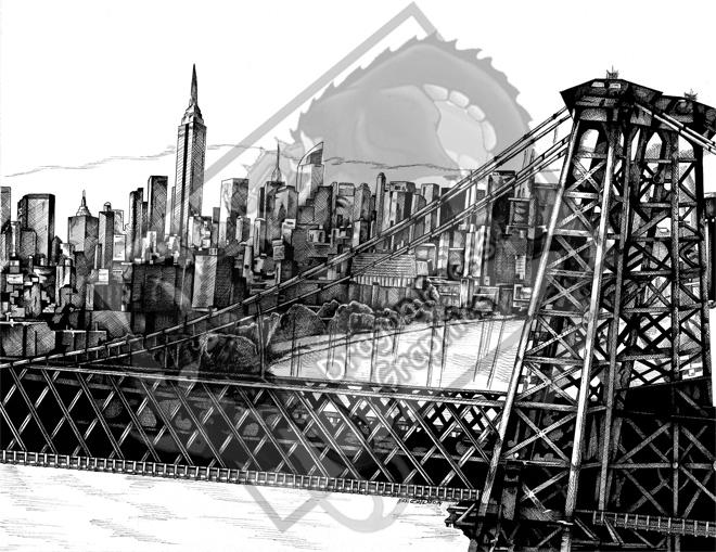 Williamsburg Bridge and Manhatten Skyline by DragonPress