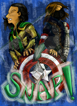 Loki and Bucky Snapping Caps Shield by DragonPress