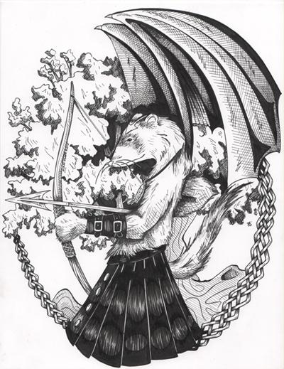 Ferret in Leather Kilt by DragonPress