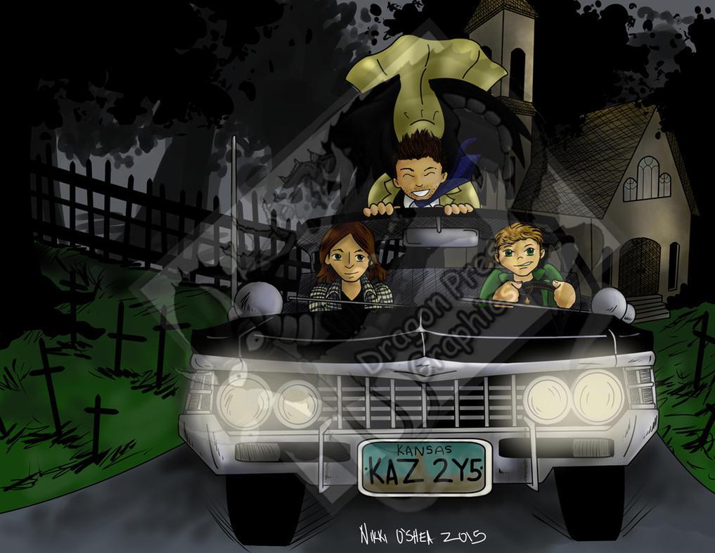 Supernatural Impala and Gang commission by DragonPress