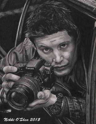 Jensen Ackles with Camera - Graphite Portrait by DragonPress