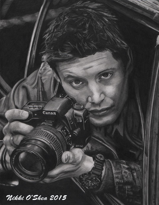 Jensen Ackles with Camera - Graphite Portrait