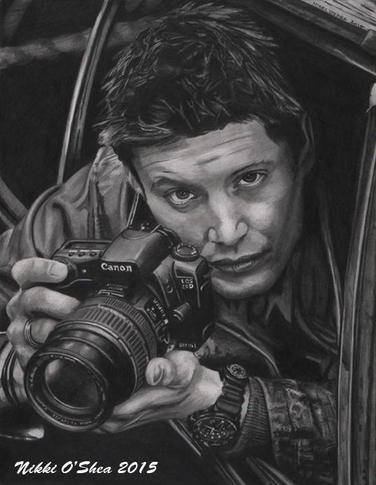 Jensen Ackles with Camera - Graphite Portrait