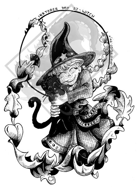 Inktober Day 27 - Witch by DragonPress