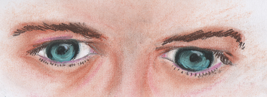 Castiels Blue Eyes in Pastel by DragonPress