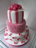 Three-tier-pink-and-white-birthday-cake by AviGebal