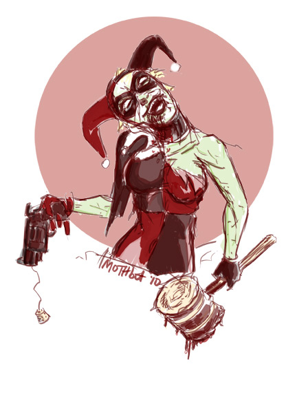 Zombie Harley Quinn by mothbot