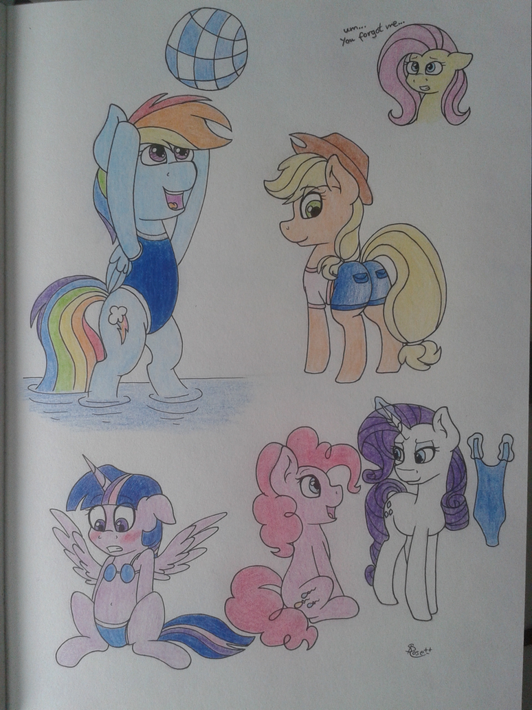 Ponies In Swimsuits by littleSpiritRose