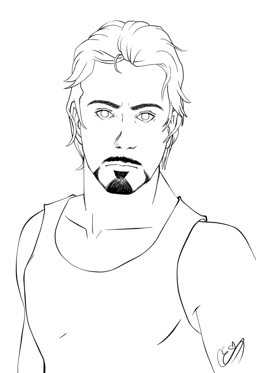Tony stark line art by lustytarts on deviantart for Tony stark coloring pages