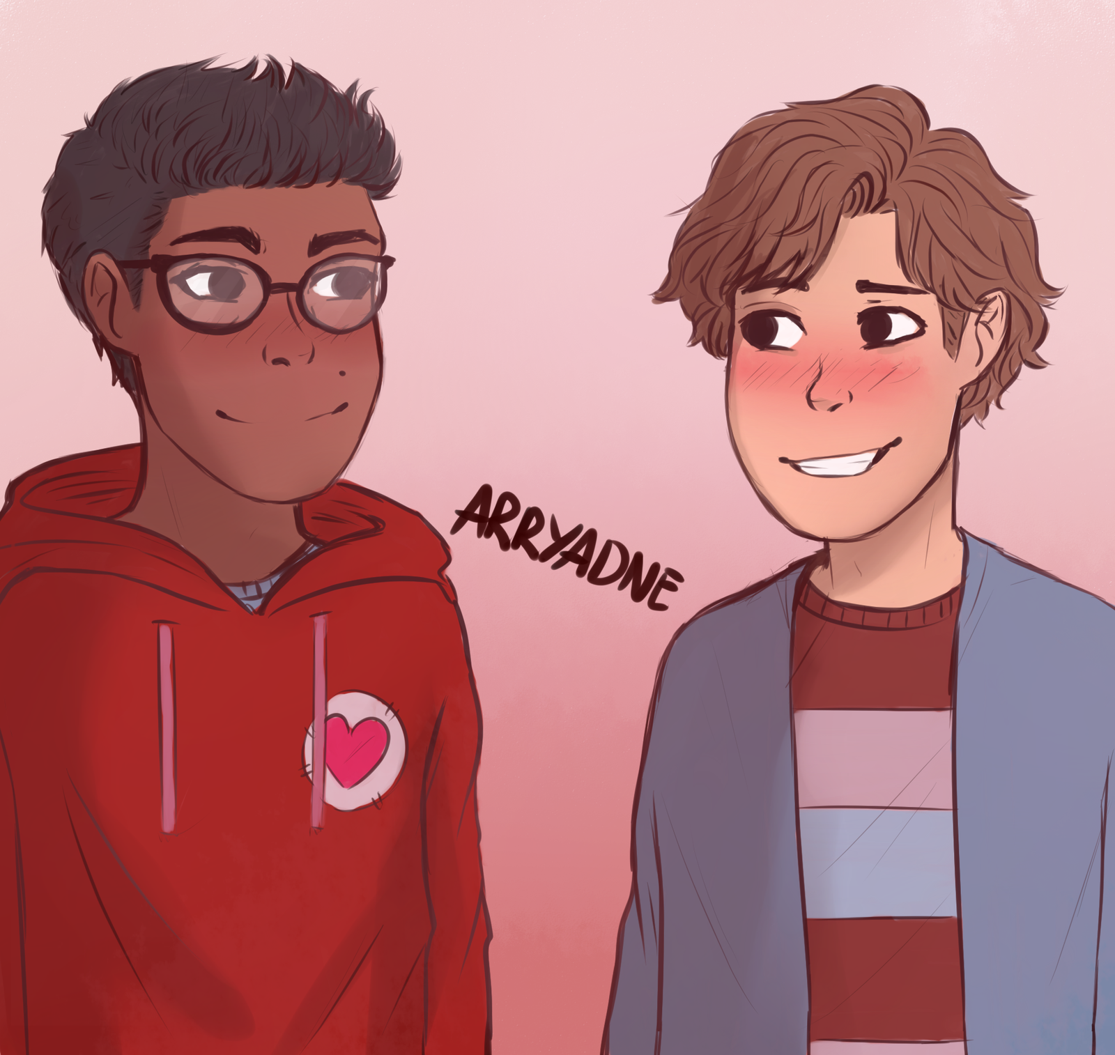 A doodle of boyf riends from Be More Chill by Arryadne
