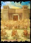 The Trojans line up in front of the Scaean Gates..