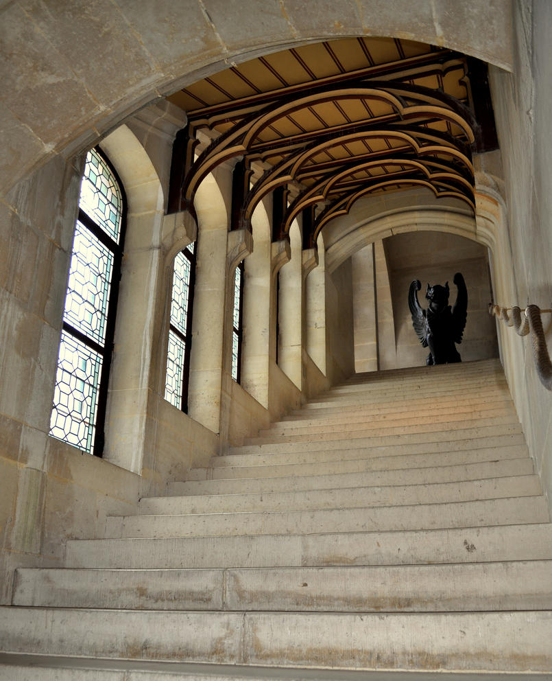 Pierrefonds castle camelot staircase interior by for Pre built stairs interior