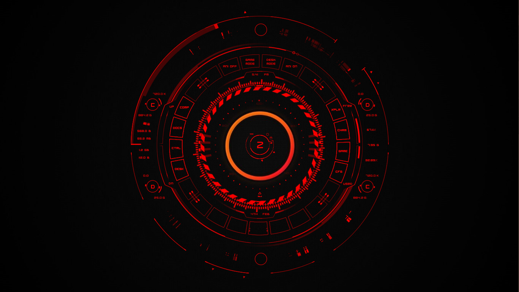 second rainmeter desktop tech red by apatheticapogee on