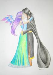 Kissing Lysandra and Dalamar by vampiresa