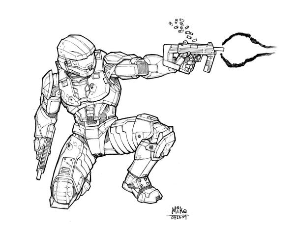 Master chief by mikedimayuga on deviantart for Halo coloring pages