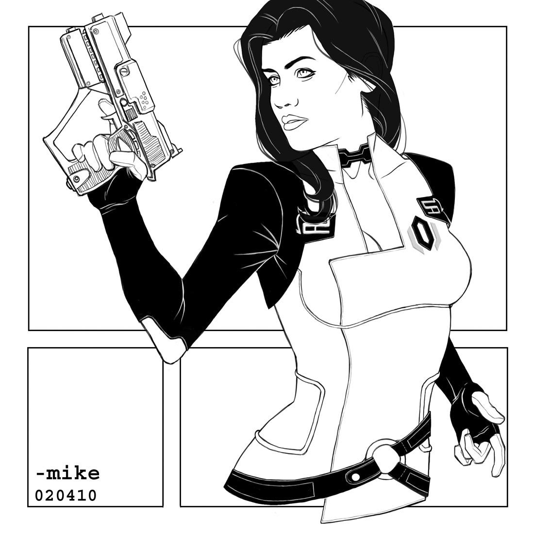 Line Art Effect Photo : Mass effect and g i joe chicks with guns digital